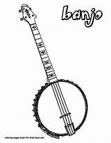 Banjo Coloring Pages Musical Instrument Instruments Guitar Boys String Country Printables Drawing Guitars Printable Downloads Colouring Acoustic Amazing Jets Results sketch template