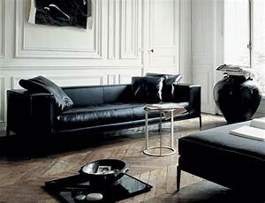 modern black leather furniture couch sofa ideas With canape cuir noir contemporain