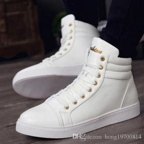 New Fashion High Casual Shoes For Men Leather Lace