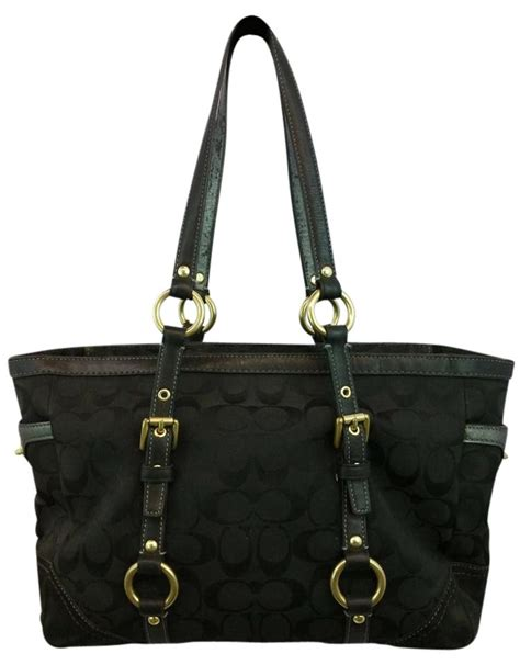 coach leather trim monogram black tote bag totes  sale