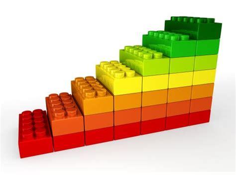 sequential bar graph   lego blocks stock photo