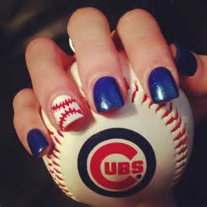 Chicago Cubs Baseball Nail Designs