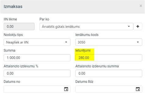 Izmaksu saraksti > Ieturējumi izmaksu sarakstos