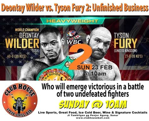 Deontay Wilder vs. Tyson Fury 2: Unfinished Business ...