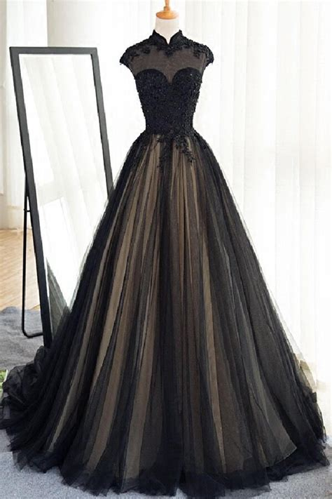 Black Tulle Cap Sleeves Floor Length Long Prom Dresses