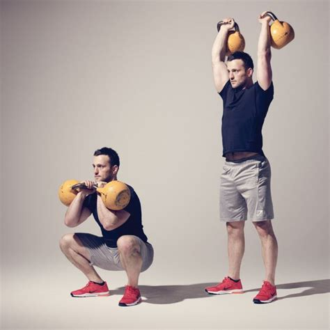 thruster kettlebell workout ladder challenge workouts minute chest exercises gym kettlebells body stand coach coachmag bells