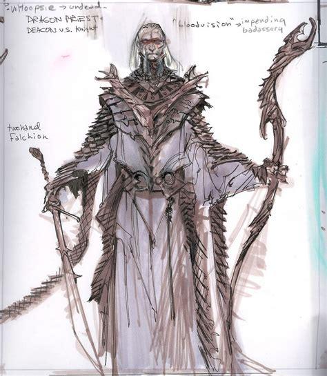 Adam Adamowicz Skyrim Concept Art Dragon Priest Elder