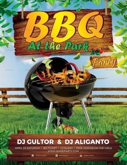 bbq summer party flyer template  images party flyer