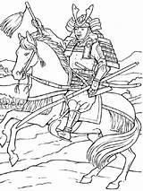 Samurai Coloring Printable Colors sketch template
