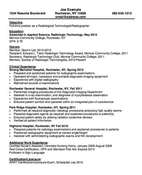 resume for radiologic technologist http resumesdesign