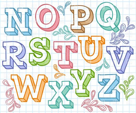 colorful sketchy font shaded letters  checkered paper