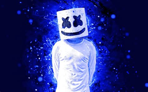 4k Resolution Neon Marshmello Wallpaper 3d by Wallpapers Marshmello Dj 4k Dakr Blue Neon