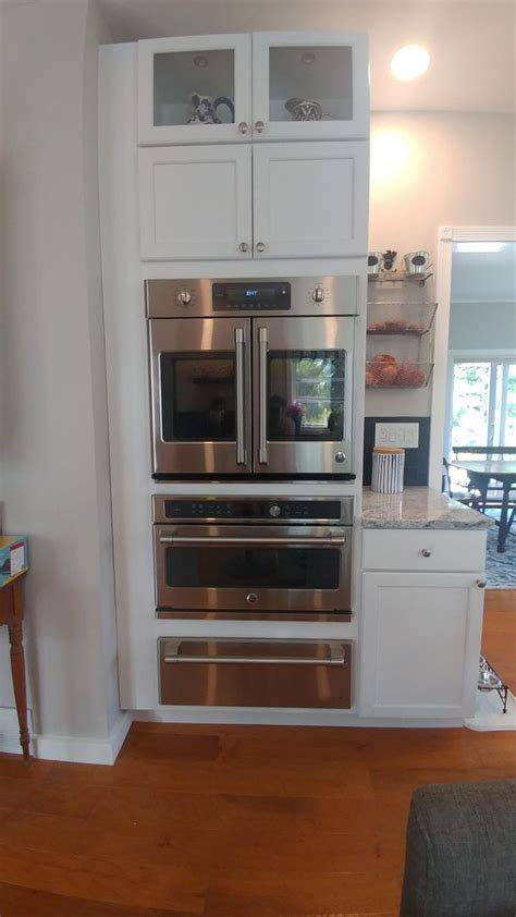 modified kraftmade wall oven cabinet allowed  ge cafe french doors convection oven french