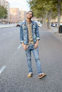 Menu0026#39;s Blue Denim Jacket Tan Long Sleeve Shirt Blue Skinny Jeans Brown Leather Boat Shoes ...
