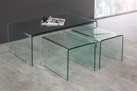 3er Set Tische by Modernes 3er Set Glas Couchtische Ghost Beistelltische