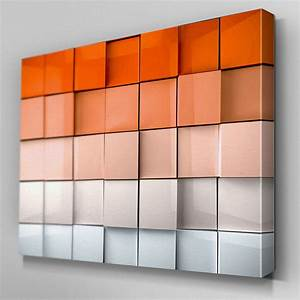 ab325 orange abstract depth canvas wall art ready to hang With orange wall art