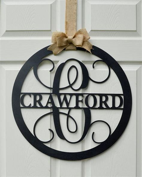 wooden letter painted monogram door hanger family  wedding monogram guest book