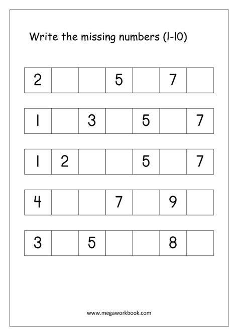 ordering numbers worksheets missing numbers