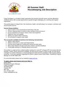 house cleaning description resume housekeeping description for resume sles of resumes