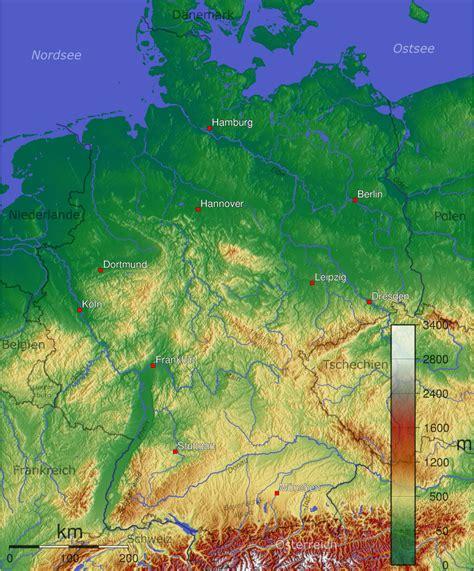 Topographische Karte Deutschland