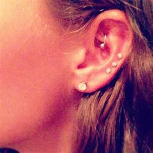 triple cartilage piercing | Tumblr