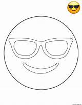 Coloring Sunglasses Emoji Pages Printable Sheets sketch template