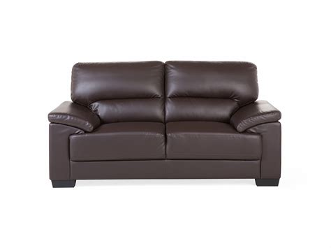 Brown Faux Leather Sofa Couch 2 Seater Settee Love Seat