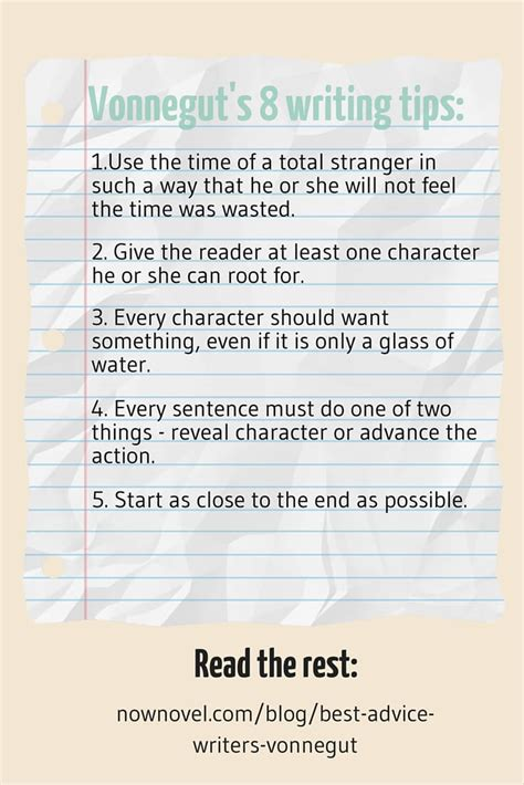 Writing Tips by Vonnegut S Best Advice To Writers 8 Tips Revisited Now