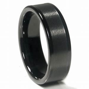 Black Tungsten Carbide 8MM Flat Wedding Band Ring