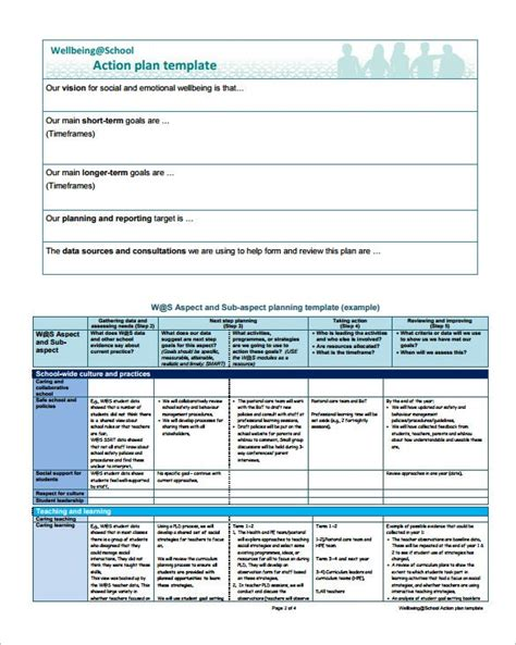 project action plan template   word excel