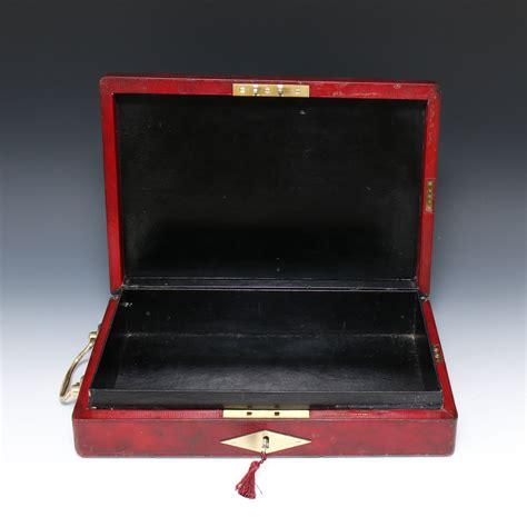 george  wickwar red leather government dispatch box  davis patent lock gerald mathias