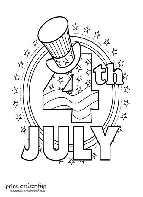 fourth  july coloring page print color fun