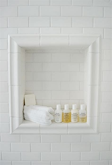 white tile bathroom shower niche white subway tile and chair rail trim bathrooms pinterest the floor master