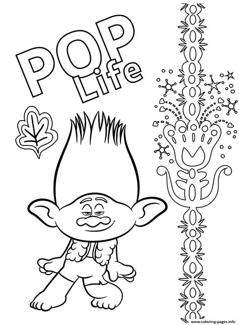 branch  trolls  coloring pages printable