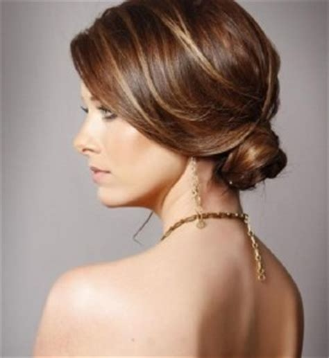 sophisticated  bun highlighted style side view women