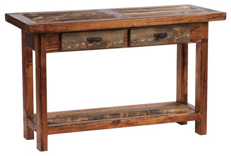 Rustic Four Drawer Reclaimed Wood Sofa Table Rustic