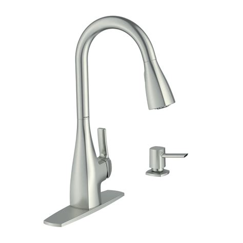 kitchen sink faucets lowes shop moen kiran spot resist stainless 1 handle pull