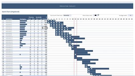 projecten toolkit uitgebreide gantt chart  excel youtube