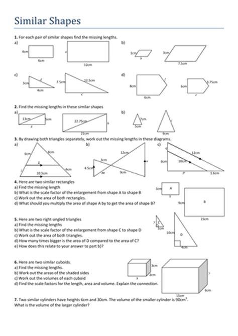 Similar Shapes Worksheet By Tristanjones  Teaching Resources Tes