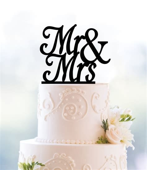 Custom Scripted Mr And Mrs Cake Topper Calligraphy