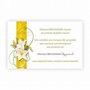 carte remerciement deces deux fleurs de lys sur bandeau With chambre bébé design avec remerciement deces fleurs