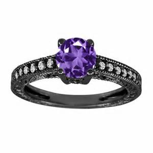 black and purple wedding rings purple amethyst diamonds engagement ring 14k white gold 1 14 carat antique vintage style