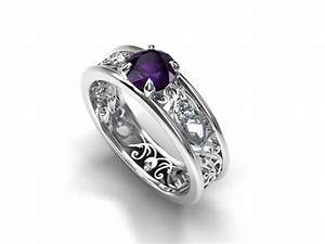 purple iolite filigree engagement ring white gold ring With purple wedding ring