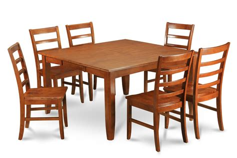 wooden dining table and 6 chairs parfait 7 pc 54 54 dining table 6 wood seat chairs in