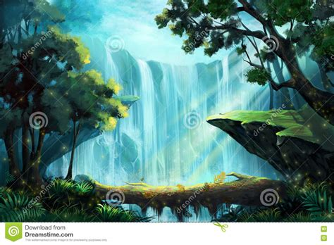 Fall Backgrounds Realistic by The Wood Bridge Inside The Forest Near A Waterfall