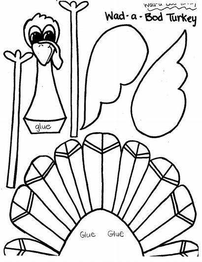 Turkey Thanksgiving Cut Printable Crafts Template Templates