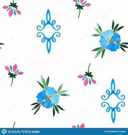 Seamless Watercolor Decorative Floral Pattern Fabric