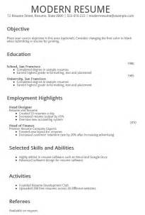modern exle of resume resume builder modern resume template