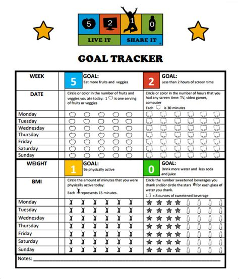 goal tracking template    documents