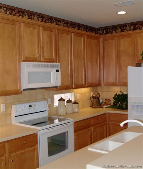 kitchens with oak cabinets and white appliances traditional light wood kitchen cabinets 37 kitchen 9858